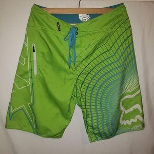 Fox racing board shorts bright green 34
